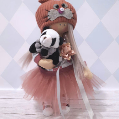 Jedyna w swoim rodzaju zabawki dla niemowląt i dzieci,wykonana ręcznie z tkanin o najwyższej jakości-laleczka z misiem panda