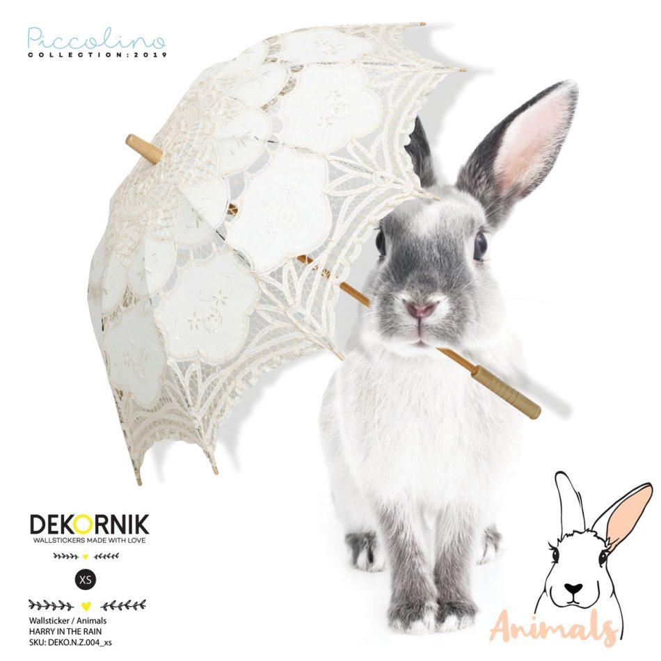 Naklejka na ścianę do pokoju dziecka-króliczek z parasolką