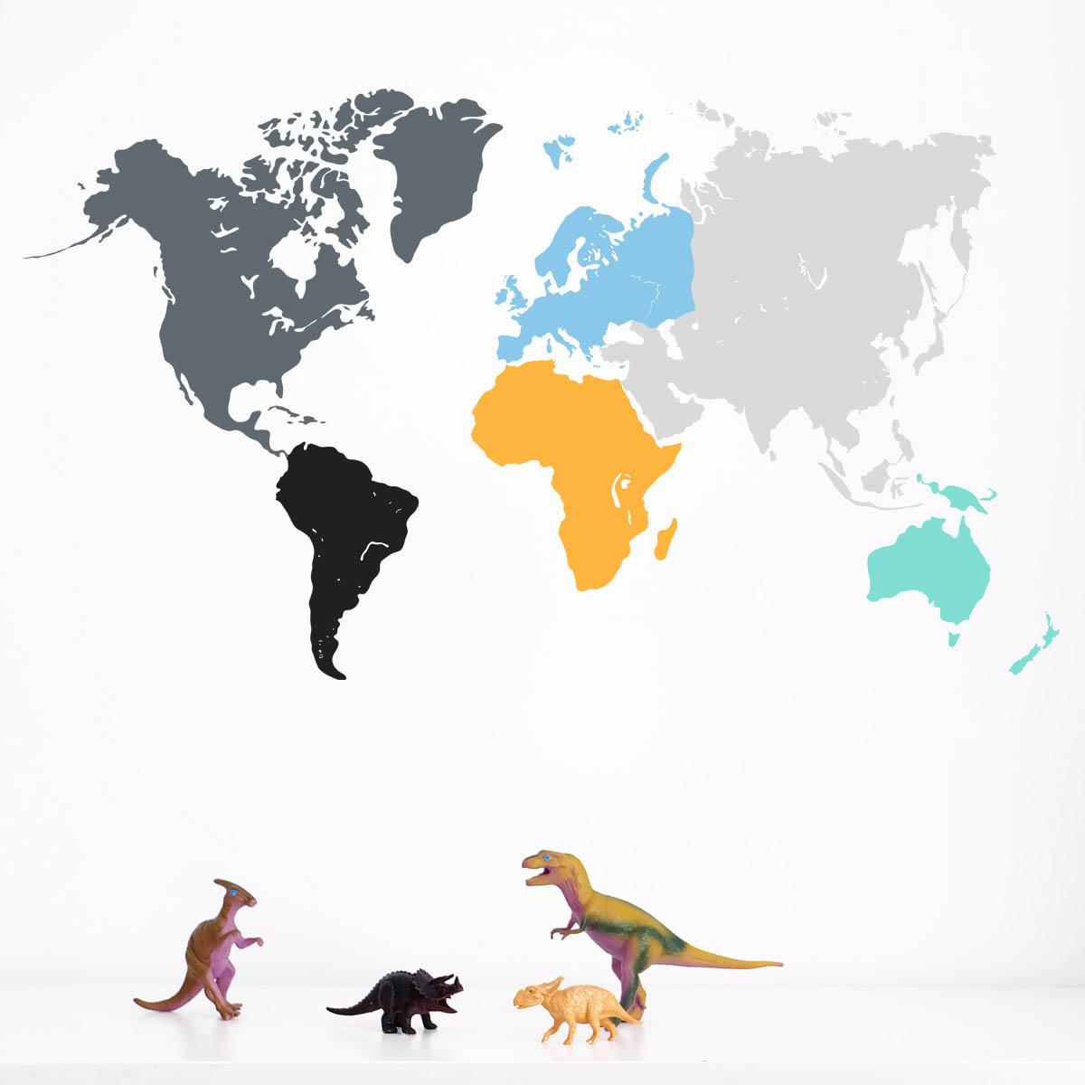 Naklejka ścienna do pokoju dziecięcego, nastolatka - mapa świata kolorowa