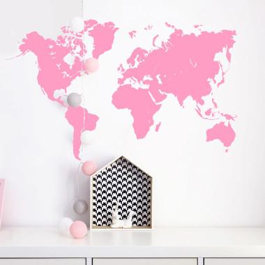 Naklejka ścienna do pokoju dziecięcego, nastolatka - mapa świata różowa