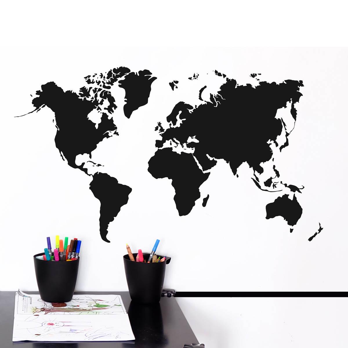 Naklejka ścienna do pokoju dziecięcego, nastolatka - mapa świata czarna tablicowa