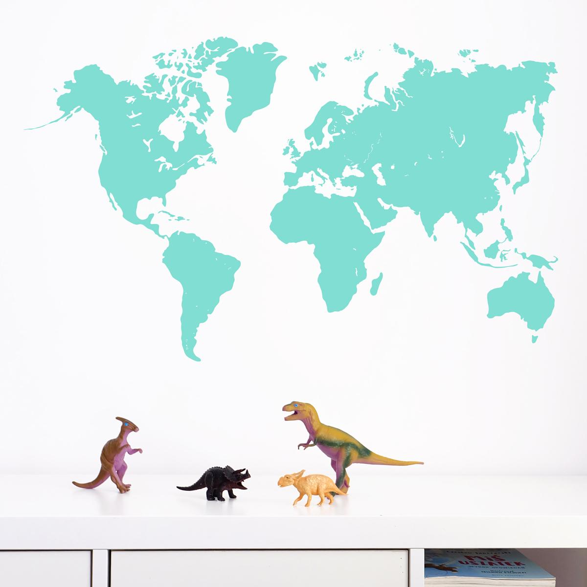Naklejka ścienna do pokoju dziecięcego, nastolatka - mapa świata turkusowa