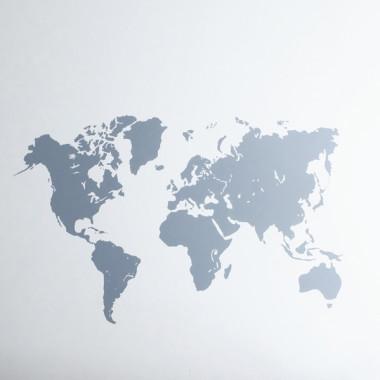 Naklejka ścienna do pokoju dziecięcego, nastolatka - mapa świata szara