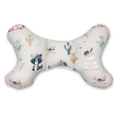 Dwustronna poduszka antywstrząsowa,wykonana z wysokogatunkowej bawełny z wyjątkowym wzorem w Boho Zwierzaki oraz miękkim minky velvet.