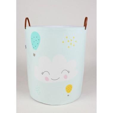 Miętowo- szary pojemnik/kosz na zabawki/akcesoria do pokoju dziecka z chmurką.