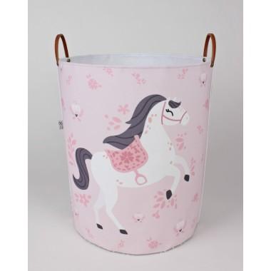 Pojemnik/ kosz na zabawki do pokoju dziecka w kolorze różowo-szarym z konikami.
