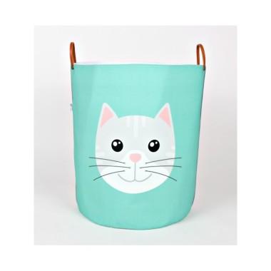 Miętowo- szary pojemnik/kosz na zabawki/akcesoria do pokoju dziecka z kotkiem