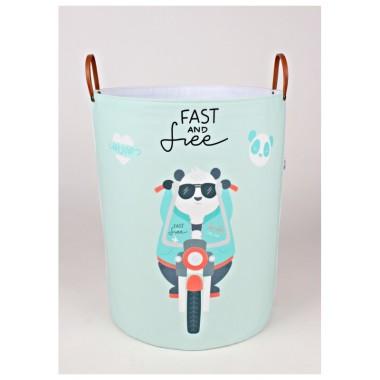 Miętowo- szary pojemnik/kosz na zabawki/akcesoria do pokoju dziecka z pandą na motorze.