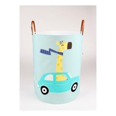 Miętowo-biały pojemnik/kosz na zabawki/akcesoria do pokoju dziecka z żyrafą.