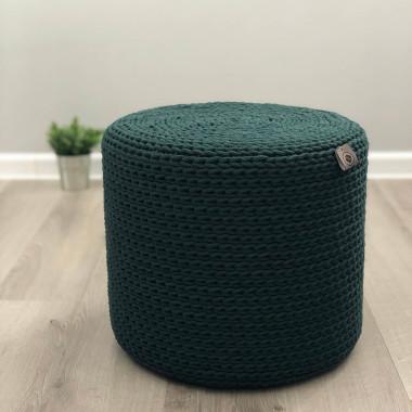 Pufa wykonana ze sznurka bawełnianego butelkowa zieleń