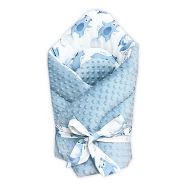 Dwustronny rożek niemowlęcy (becik) wykonany z wysokiej jakości bawełny w Nocne Misie oraz miękkiego i miłego w dotyku minky.