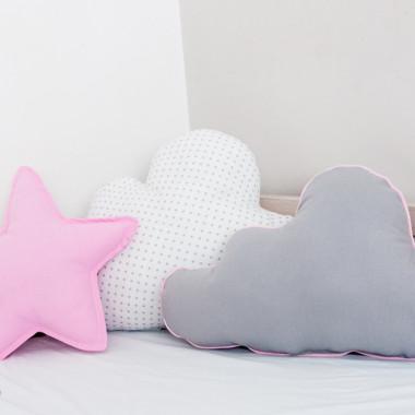 Zestaw 3 Poduch różowo-biały- 2 chmurki i gwiazdka