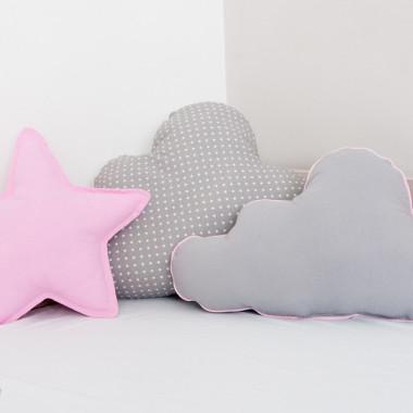 Zestaw 3 Poduch różowo-szary-2 chmurki i gwiazdka