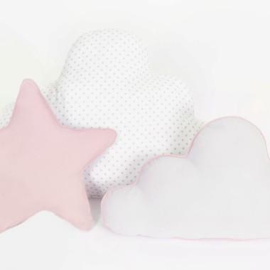 Zestaw 3 Poduch skandynawski róż z białym-2 chmurki i gwiazdka