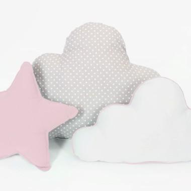 Zestaw 3 Poduch -2 chmurki i gwiazdka. Biało-szaro-różowy zestaw.