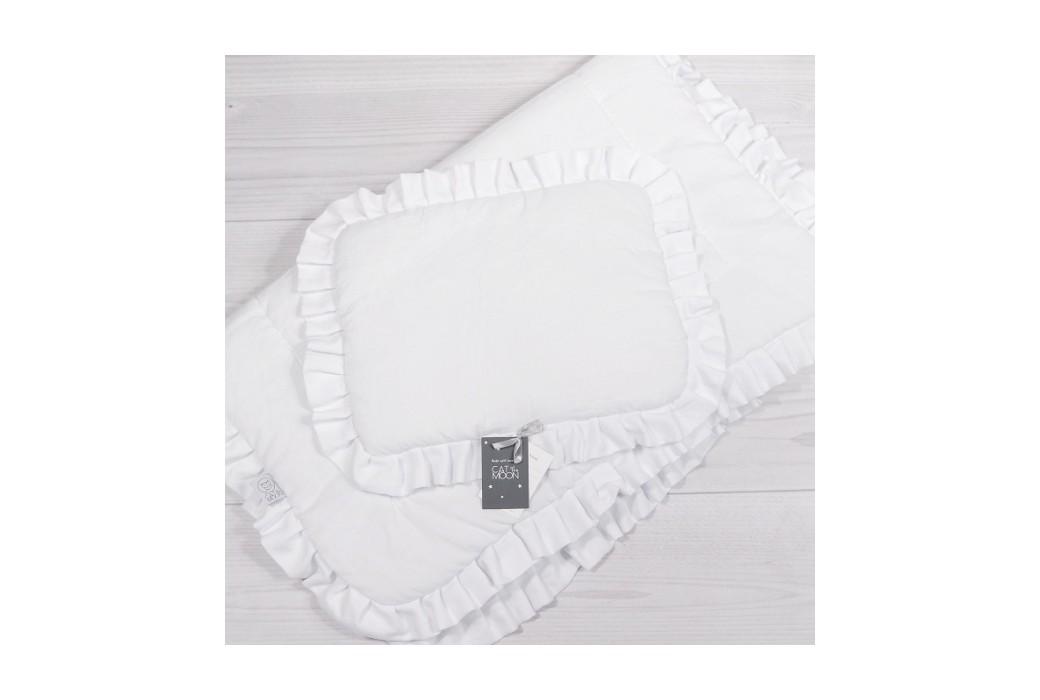 Biała pościel do łóżeczka dziecięcego/niemowlęcego z wypełnieniem i za falbanką.