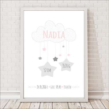 Różowo szara metryczka/plakat na pamiątkę urodzin dziecka. Idealna jako prezent lub element wystroju pokoju dziecięcego.