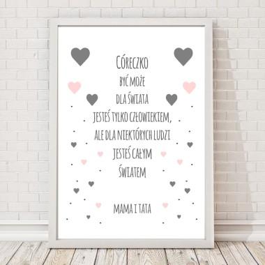 Plakat do pokoju dziecka z napisem i serduszkami-szaro-różowy