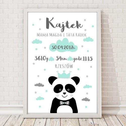 Metryczka z pandą na pamiątkę urodzin dziecka. Idealna jako prezent lub element wystroju pokoju dziecięcego.