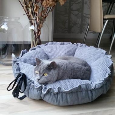 Wygodne,dwustronne, designerskie miękkie legowisko dla psa/ kota -szare, brązowe, graitowe, czarne, różowe, zielone, niebieskie.