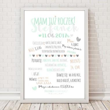 Miętowo-szary plakat do pokoju dziecka z napisem -prezent na roczek