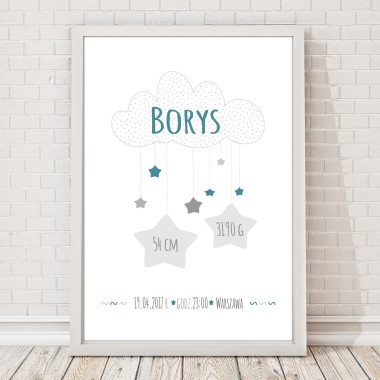 Biało-granatowa metryczka/plakat z chmurką i gwiazdkami dla chłopca na pamiątkę urodzin dziecka. Idealna jako prezent lub element wystroju pokoju dziecięcego.