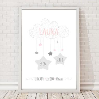 Biało-różowo-szara metryczka /plakat z gwiazdkami na pamiątkę urodzin dziecka. Idealna jako prezent lub element wystroju pokoju dziecięcego.