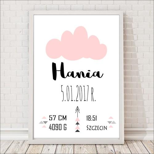 Bialo-różowa metryczka/plakat do pokoju dziecka na pamiątkę urodzin dziecka. Idealna jako prezent lub element wystroju pokoju dziecięcego.