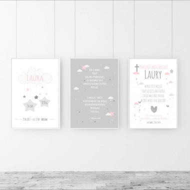 Pamiątka chrztu, prezent na chrzciny. Zestaw 3 plakatów biało-różowo-szarych.