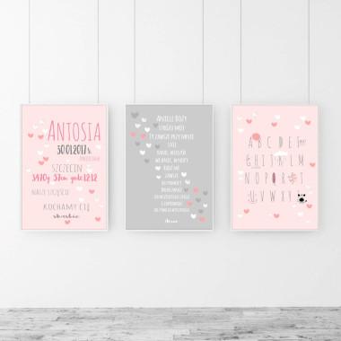 Zestaw 3 plakatów do pokoju dziewczynki w kolorze różowo-szarym