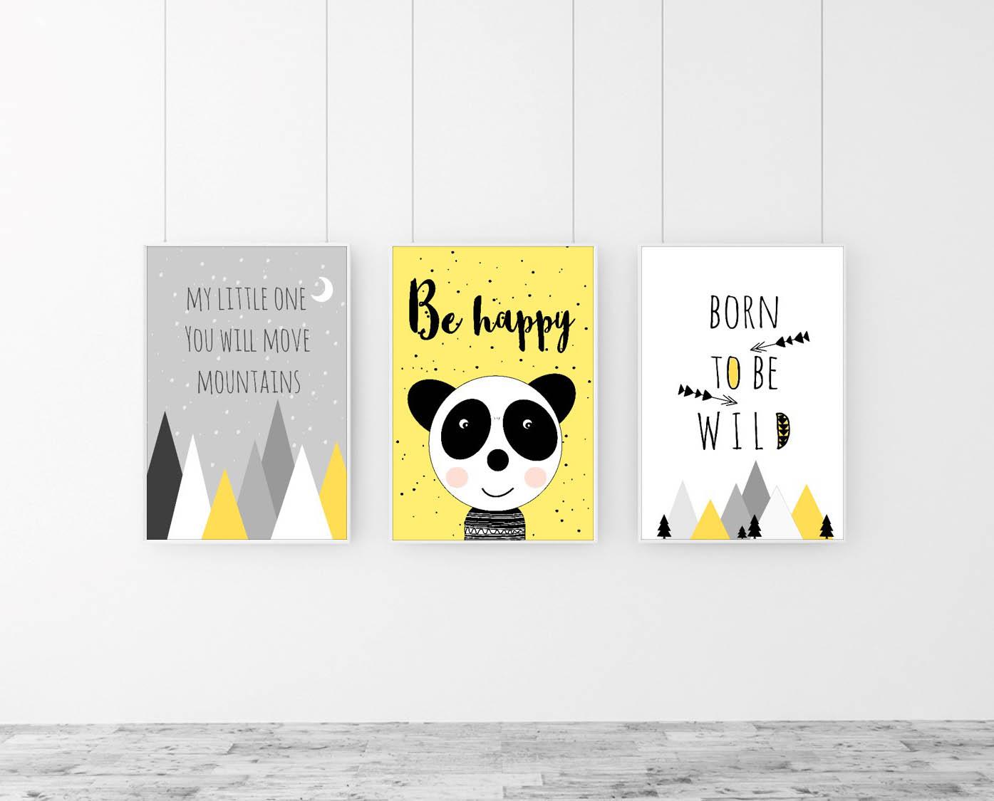 Żółto-szary zestaw plakatów do pokoju dziecka - napis Be happy