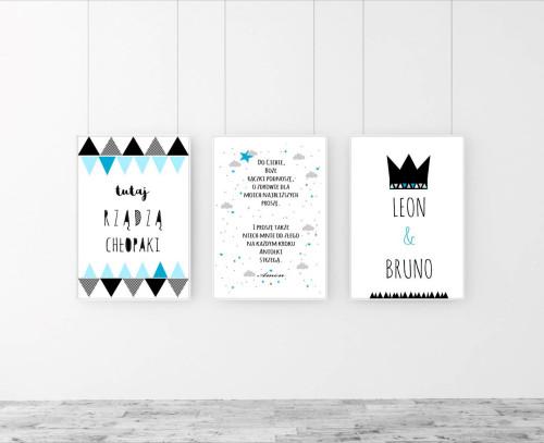 Zestaw 3 plakatów w niebiesko-czarnych kolorach do pokoju chłopca