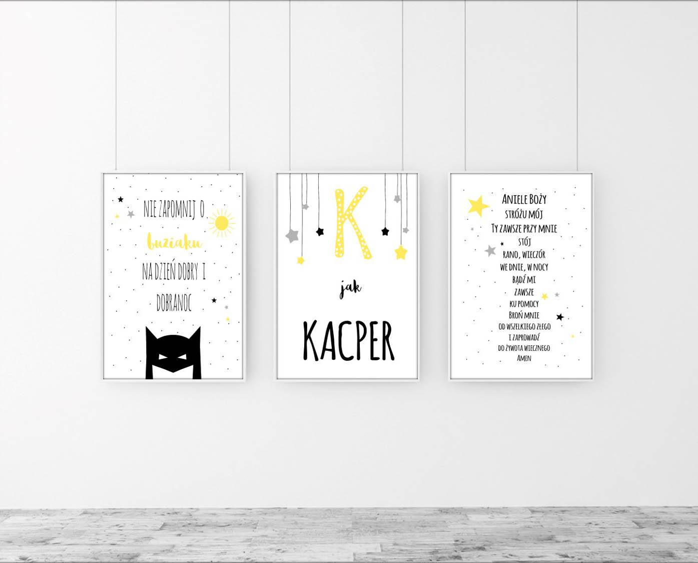 Tryptyk/Zestaw 3 plakatów z literką imienia i batmanem w kolorze żółto-czarnym