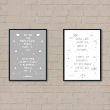 Zestaw 2 plakatów do pokoju dziecka z modlitwą- -róż-szary