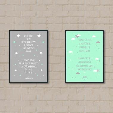 Zestaw 2 plakatów do pokoju dziecka z modlitwą- mięta-szary