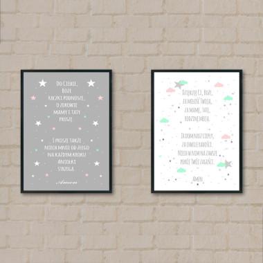 Tryptyk/Zestaw 2 plakatów z modlitwą-biały-szary