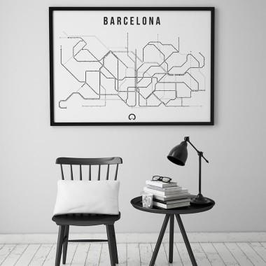 Czarno-biały plakat przedstawiający linie metra w Barcelonie