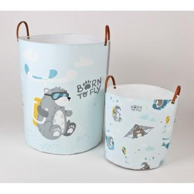 Zestaw niebiesko-szarych pojemników/kosy do pokoju dziecka-na zabawki, ubranka lub inne skarby.