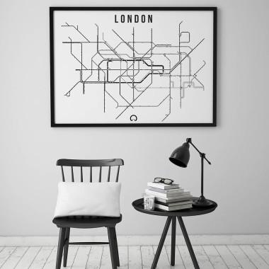 Biało-czarny plakat przedstawiający linie metra w Londynie