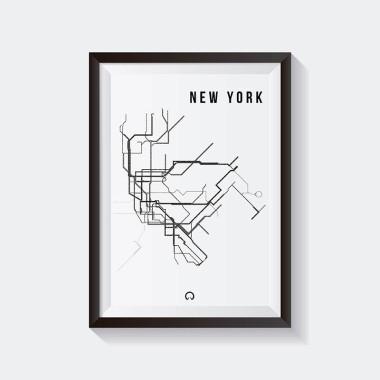 Biało-czarny plakat przedstawiający linie metra w Nowym Yorku