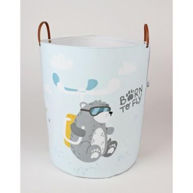 Duży pojemnik na zabawki, pranie lub inne skarby do pokoju dziecka. Szaro-niebieski.
