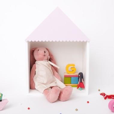 Drewniana półka domek do pokoju dziecka-bialy domek z różowym dachem