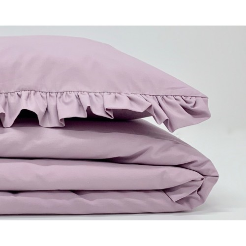 Komplet pościeli z falbanką w kolorze szarej lawendy ze 100% bawełny o wykończeniu satynowym