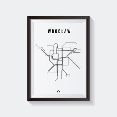 Biało-czarny plakat przedstawiający tlinie tramwajowe we Wrocławiu.