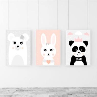 Tryptyk/Zestaw 3 plakatów Miś/Króliczek/Panda