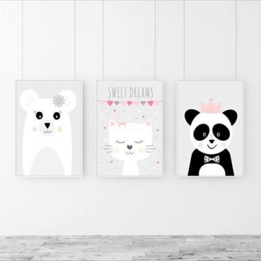 Tryptyk/Zestaw 3 plakatów Cudne zwierzaki