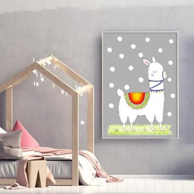Szary plakat z białą lamą