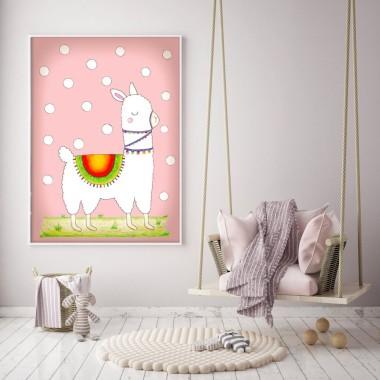 Różowy plakat z białą lamą