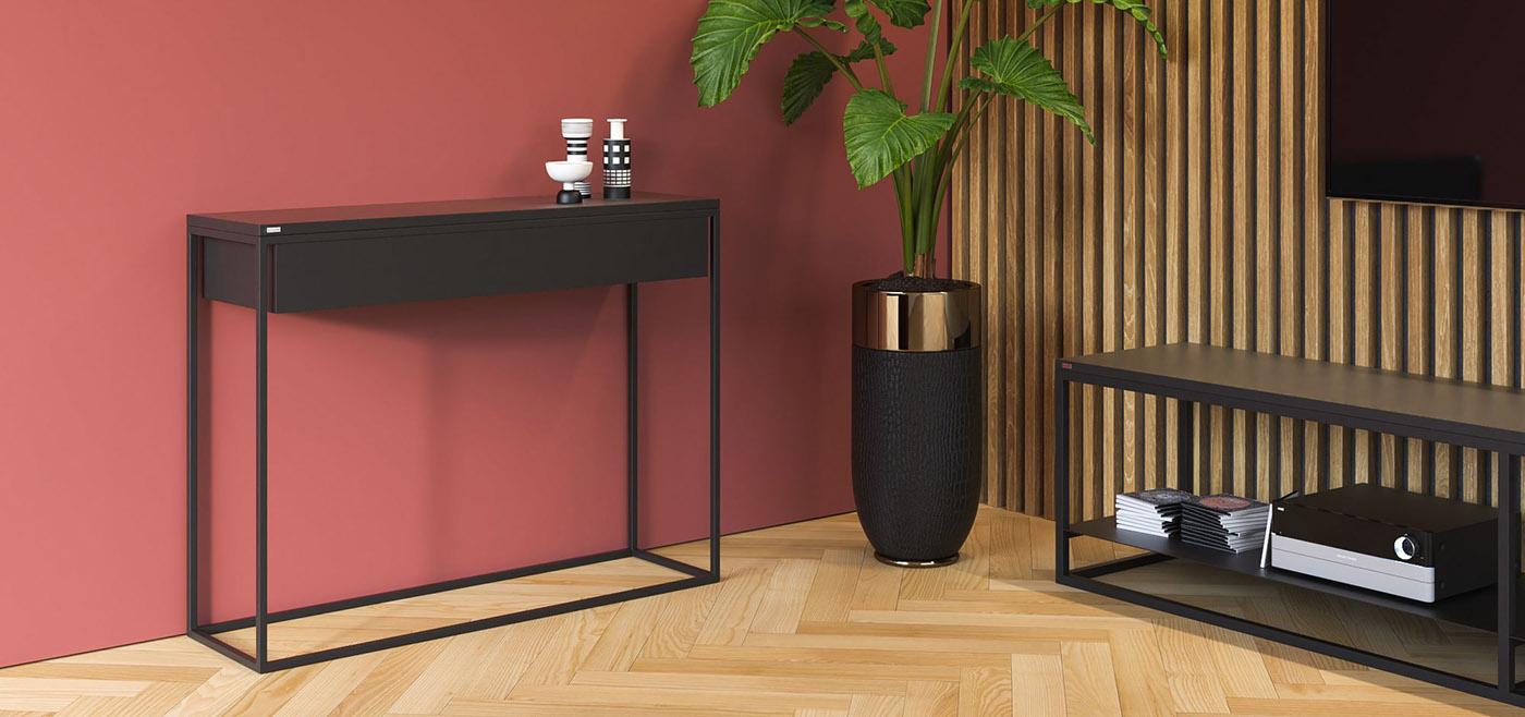 Minimalistyczna, nowoczesna konsola SKINNY XL z szeroką szufladą w kolorze czarnym