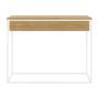 Minimalistyczna, nowoczesna konsola SKINNY XL w kolorze białym z szeroką drewnianą dębową szufladą